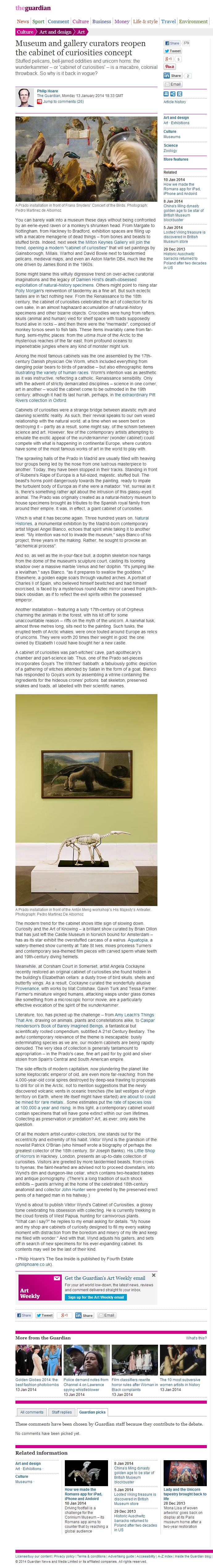 Philip Hoare, en The Guardian: gabinetes de maravillas en los museos